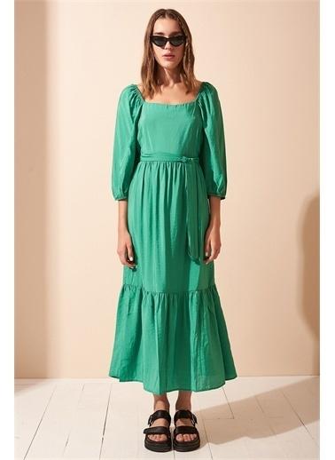 Never More Beli Kemerli Balon Kol Yeşil Elbise Yeşil